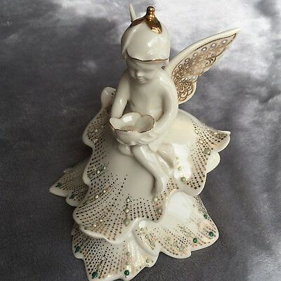 Lenox China Jewels Collection Woodlands Friends Fairy On A Leaf  Rare Retired