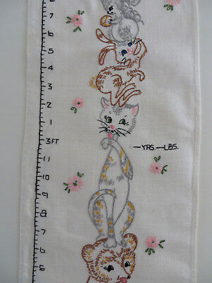 "Vintage Linen Fabric Embroidered Animals Growth Chart 2' to 4'6"" Ht Age Weight"