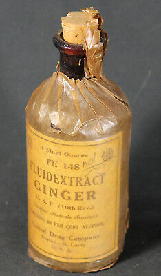 Antique United Drug (Rexall) Ginger Fluid Extract Corked Bottle