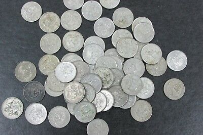 Large lot of 60 Coins - Mexico 25 Centavos Silver Coin Mixed Dates 1950-1953 *D5
