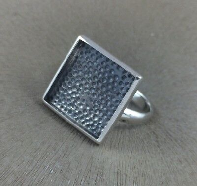 Sterling Silver Ring Blank 15mm Square Bezel Cabochon Setting Adjustable Finding