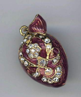 Russian  Silver Faberge Egg Pendant RED enamel finish and gems, more.