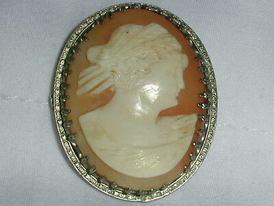Antique Large Rhodium Plated Hand Carved Shell Cameo Brooch!