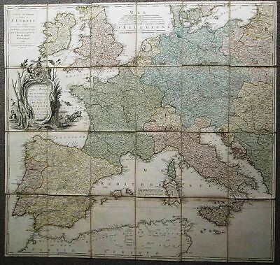 1781 John Rocque MAP of the POST ROADS of EUROPE Hand Coloured with Slipcase