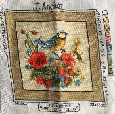 Retro Vintage floral Completed CUSHION Piece ? Bird Tapestry Needlepoint Anchor
