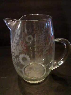 """Antique Hand Blown Round Etched Flowers Glass Water Pitcher Applied Handle. 9"""""""