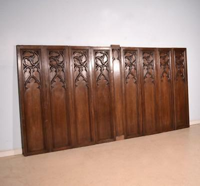 "Set of 58"" Tall Antique French Gothic Panels/Wainscoting/Paneling in Oak Wood"