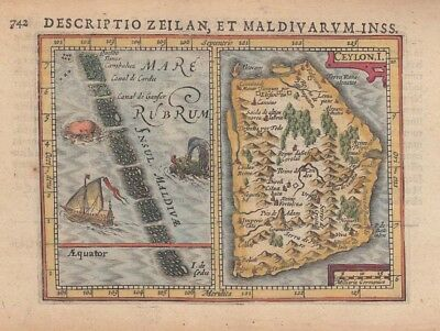 1616 Lovely Bertius Maps of Sri Lanka and the Maldives