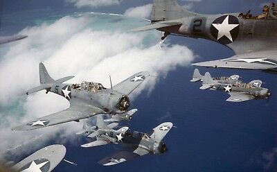 WW2  Photo WWII US Navy Dauntless SBD Dive Bombers 1942 World War Two / 5388