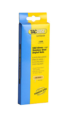 Tacwise Type 500 / 40mm Stainless Steel Angled Nails for Nail Gun (Pack of 1000)