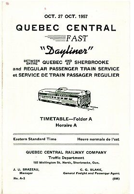 "Quebec Central Railway, passenger time table ""Dayliner"", October 27, 1957"