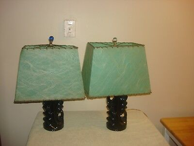 Pair Of Mid Century Vintage Lamps With Fiberglass Shades