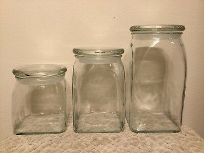 3 Piece Glass Canister Set With Lids Pier 1 Imports Clear Glass