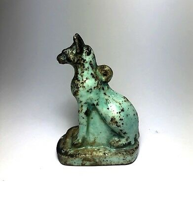 Ancient Egyptian Faience Cat Amulet - Figure statue