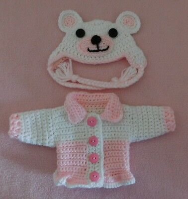 Wellie Wishers Sweater Clothes Pink Bear Sweater Hat Fits American Girl 14.5""