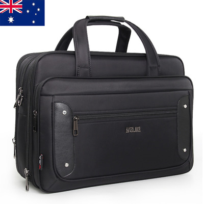 Large Mens Black Oxford Briefcases Bag Laptop Crossbody Briefcase Office Bag