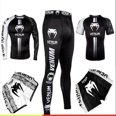 94040958cc7c5 Venum T-shirt tights MMA fighting abrasion Combat compression fitness  clothes.
