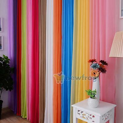 Window Panels Curtains Valance Room Treatment Solid Drape Voile Sheer Many Color