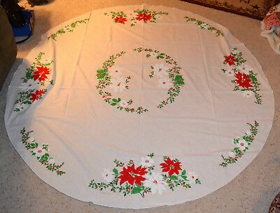 "Vintage Christmas 68"" Round Tablecloth, Red & White Poinsettia, Holly Berry"