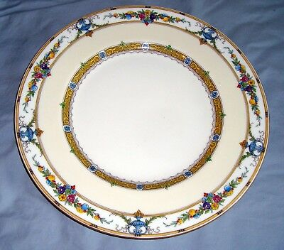 """Minton HELENA 9"""" LUNCHEON PLATE  Flowers, Fruit, Urns, Yellow Bands"""