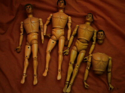 Three Vintage Palitoy 1960/70s Action Man Figures For Spares Or Repair