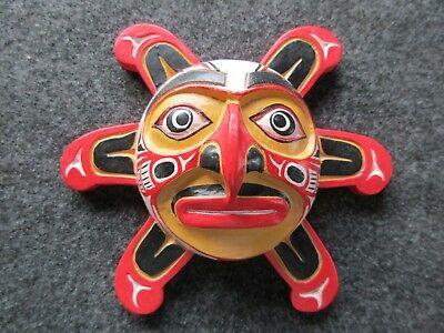 Northwest Coast Ceremonial Mask, Hand Carved Wooden Sun Mask,   Wy-02496