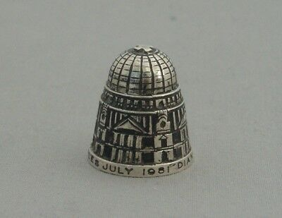 Solid Silver Thimble Royal Wedding 1981 St Paul's Cathedral Design Modernist