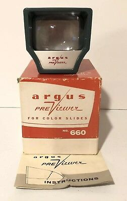 Vintage ARGUS Previewer Slide Viewer Original Box & Instructions Made in USA 660