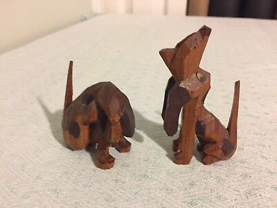 TWO Vintage Wood Carved Basset Hounds Dogs Spots Scratching Howling Folk Art
