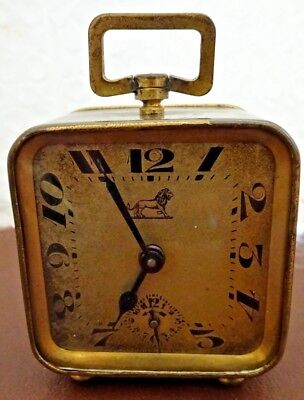 FRENCH ART DECO BRASS ALARM CLOCK by DUVERDRY & BLOQUEL IN WORKING ORDER c1931