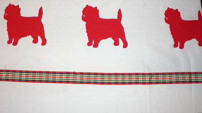 Cairn Terrier Shower curtain Red dogs on white curtain with red stripe  SALE