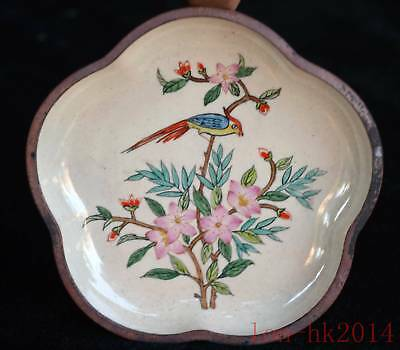 China Collectable Decor Copper Painted Flower Bird & Flower Auspicious Plates