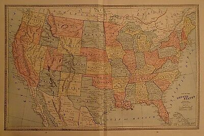 Vintage 1884 UNITED STATES & WESTERN TERRITORIES MAP ~ Old Antique Original Map
