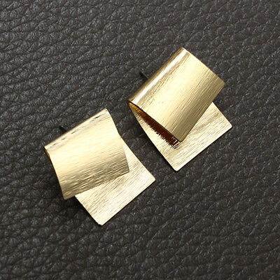 Women Gold Color Creative Geometric Square Overlapping Earrings Stud Jewelry S