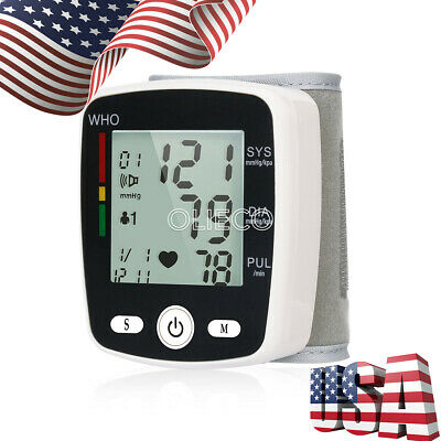 Monitor Cuff Pulse Meter Digital Voice Wrist Blood Pressure Heart Beat Rate USA