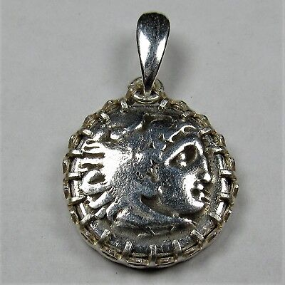 Authentic Ancient Greek Silver Coin Drachm Sterling Silver Pendant Setting #249