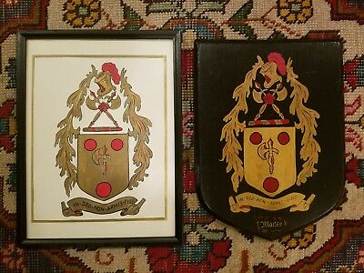 Antique Hand Painted Wooden Morse Coat of Arms Plaque & Vintage Framed Picture