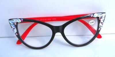 bcff272c978 2.00 RED READING GLASSES JIMMY CRYSTAL NY BLING USING Swarovski Elements