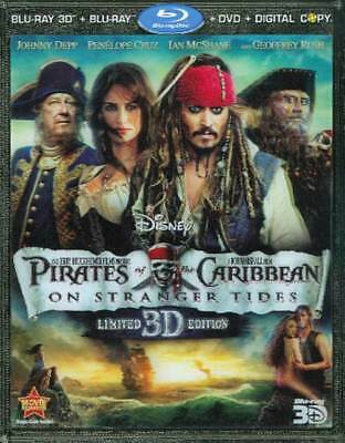 Pirates of the Caribbean: On Stranger Tides (Blu-ray/3D/DVD/Digital, 5-Disc) NEW