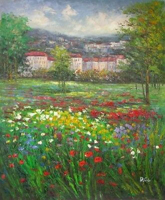 Field of Wildflowers Floral Hand Painted Stretched Canvas Art Oil Painting
