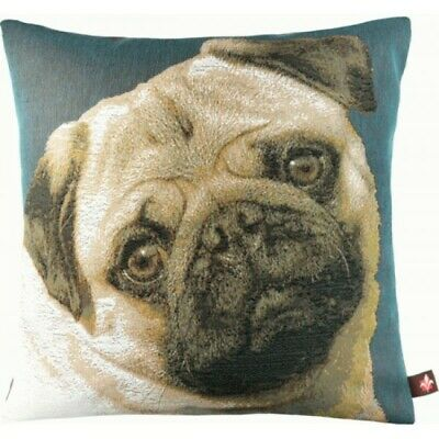 Pugs Face Blue II French Woven Tapestry Cushion Pillow Cover Vintage Art Decor