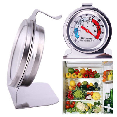 Fridge/Freezer Thermometer Stands Hangs Gauge Stainless Kitchen Craft Steel Dial