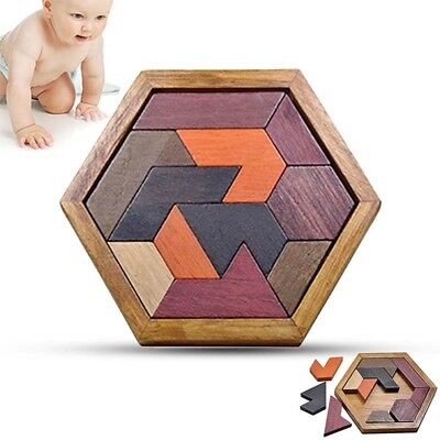 Wooden IQ Game Jigsaw Intelligent Tangram Brain Teaser Puzzle Toys for Baby Kids