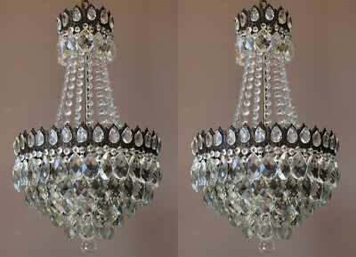 Antique TWO Crystal Chandeliers, Vintage Ceiling Lighting & Matching Pendants,