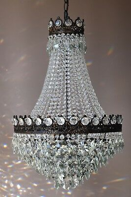 Mid Century Vintage Crystal Chandelier Antique French Lighting Pendants Lamps