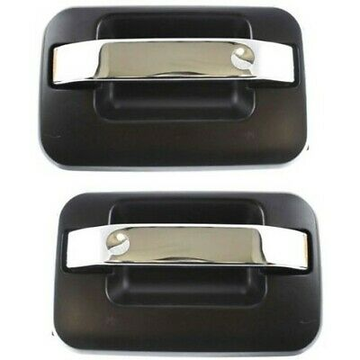 Door Handle For 2004-14 Ford F-150 SuperCrew Rear Right Txtrd Blk w//Chrome Lever