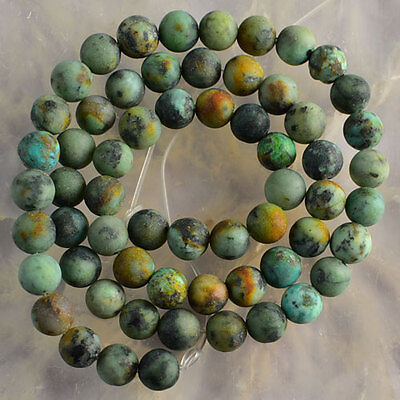 V3437 6mm Matte Natural Turquoise Ball Loose Beads 15''