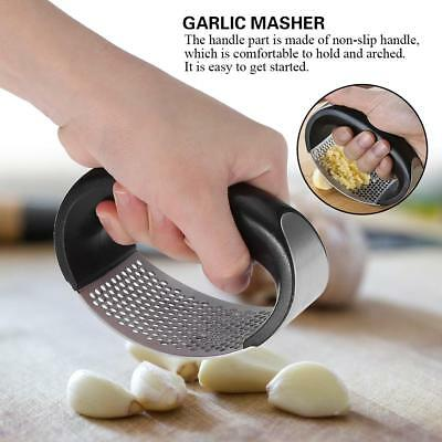 Stainless Steel Manual Garlic Press Crusher Squeezer Masher Home Kitchen Tool