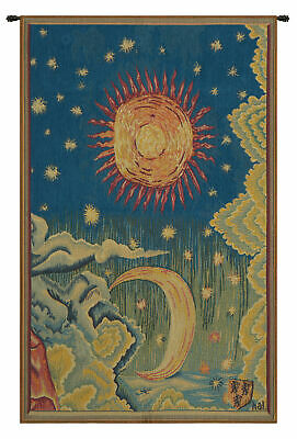 Summer L'Ete French Sun and Moon Decorative Woven Tapestry Wall Hanging