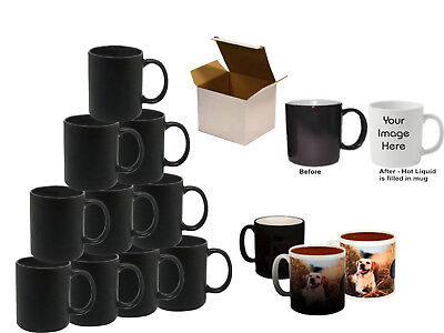 Sublimation Black Color Changing Mugs 11oz Heat Press With Free White Gift Boxes